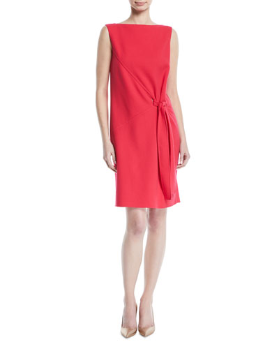 Tie-Front Sleeveless Bateau-Neck Crepe Cocktail Dress