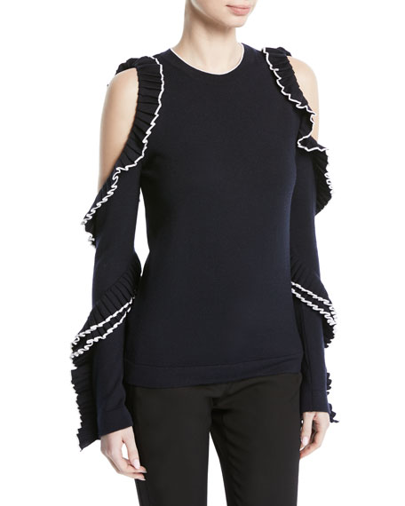 Cold-Shoulder Long-Sleeve Wool Knit Top w/ Ruffled Frills