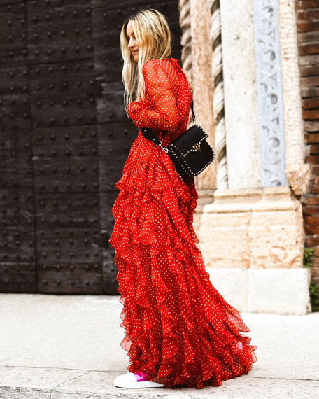 Long-Sleeve Tie-Neck Polka-Dot Ruffled Chiffon Evening Gown