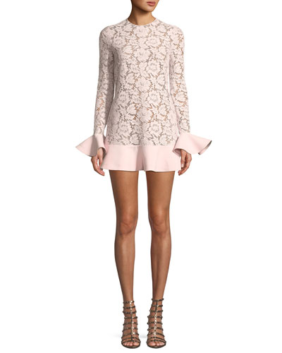 Jewel-Neck Long-Sleeve Heavy Lace Crepe Couture Dress with Ruffle Details