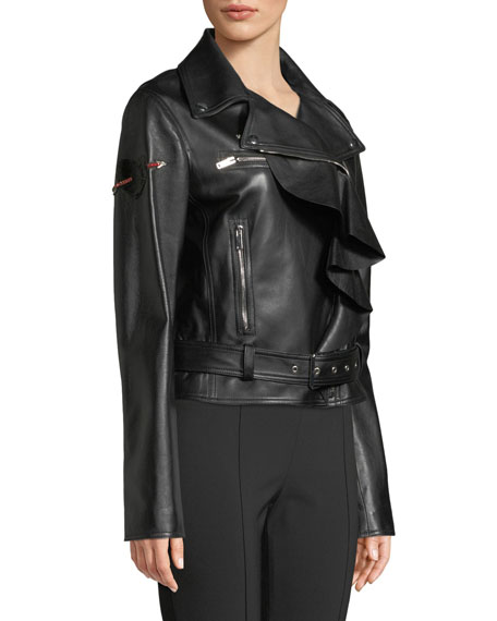 Napa Plonge Ruffle-Detail Leather Jacket w/ Love Story Heart on Sleeve