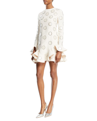 Long-Sleeve Beaded-Dot Crepe Couture Dress with Ruffle-Hem