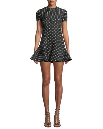 Jewel-Neck Short-Sleeve Polka-Dot A-Line Dress