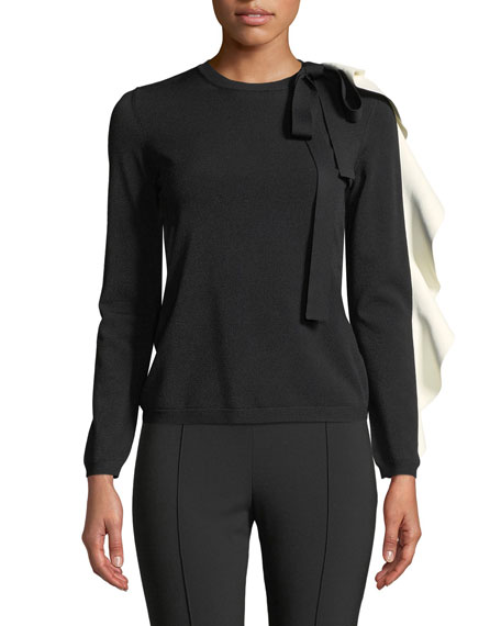 Crewneck Long-Sleeve Sweater w/ Contrast Ruffle