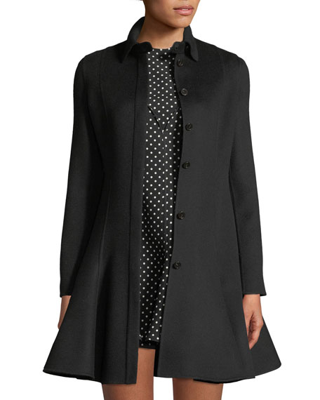 Long-Sleeve Button-Front Flare Wool-Cashmere Coat, Black