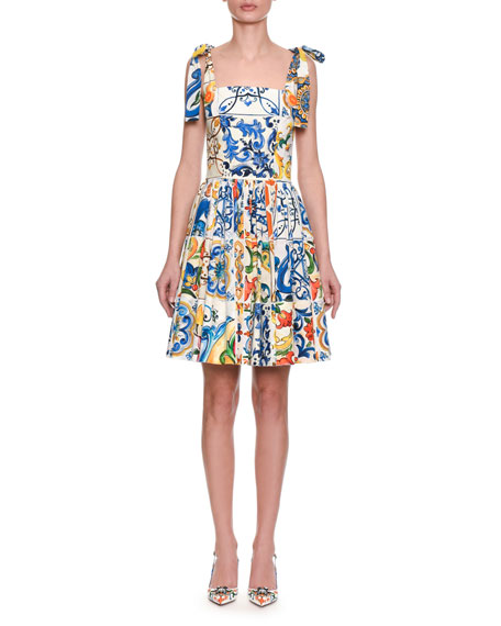 cd1ff17f98d Dolce   Gabbana Sleeveless Fit-and-Flare Tile Print Cotton Dress w  Ties