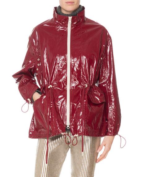Enzo Laminated Cotton-Linen Jacket - Dark Red Size 36 It