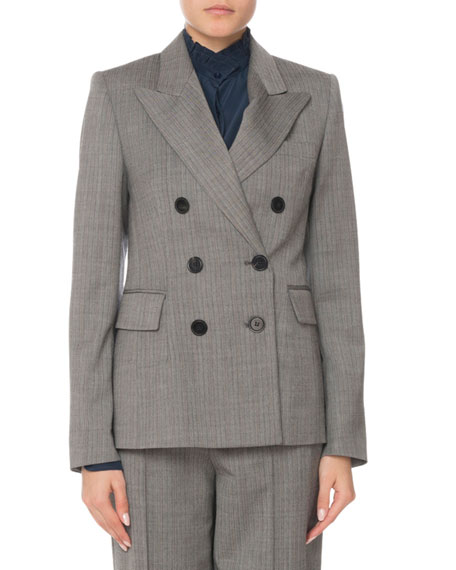 WOOL-STRETCH DOUBLE-BREASTED BLAZER