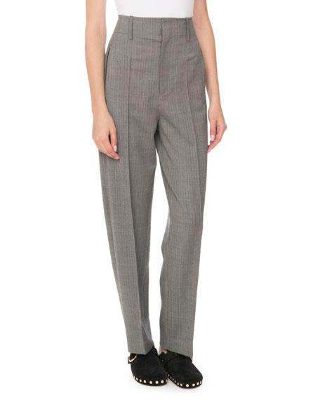 Isabel Marant High-Waist Straight-Leg Stretch-Wool Pants