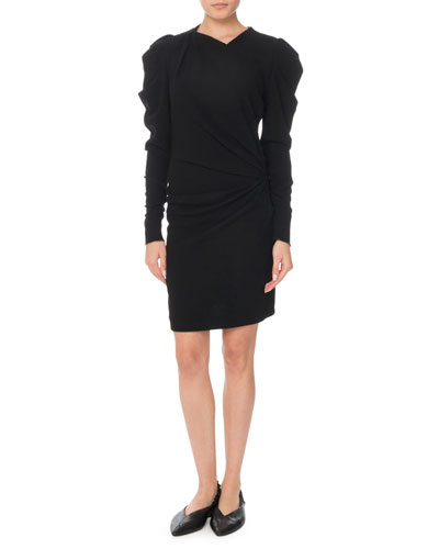 Puff Long-Sleeve Ruched Mini Dress