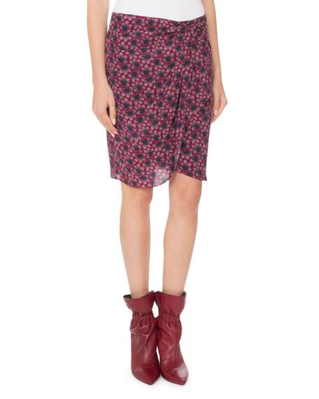 ISABEL MARANT Floral-Print Draped Silk Skirt in Pink