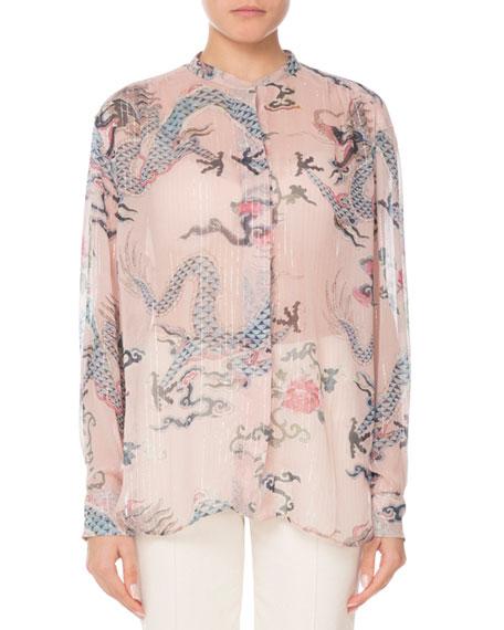 buy online 14137 9763b Long-Sleeve Button-Front Dragon-Print Silk Blouse