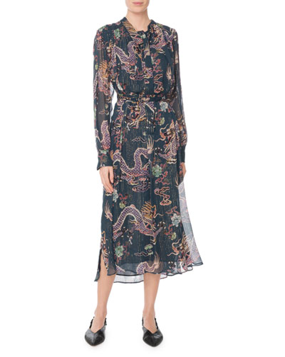 Long-Sleeve Dragon-Print Metallic-Silk Midi Dress