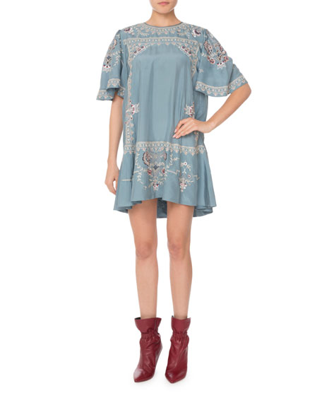Short-Sleeve Embroidered Silk Mini Dress in Blue