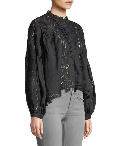 Long-Sleeve Button-Front Eyelet Top