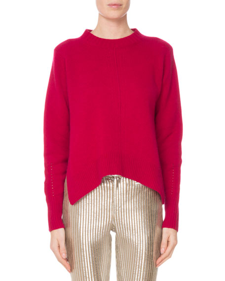 Crewneck Long-Sleeve Pure Cashmere Sweater w/ Side Slits