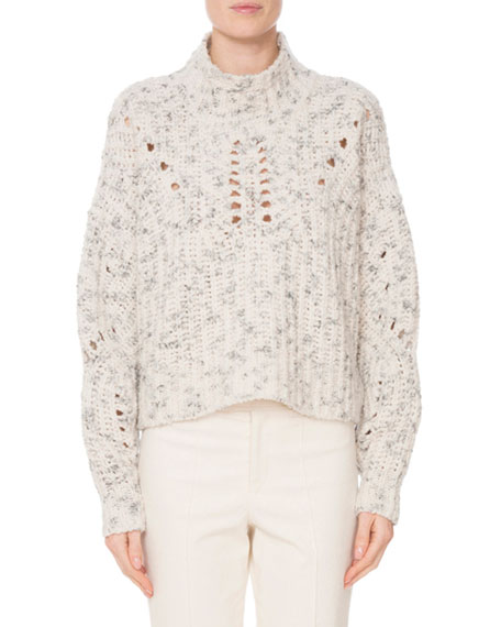 High-Neck MÉLange Wool Knit Pullover Sweater, Ecru