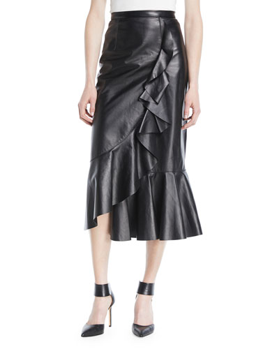 Plonge Leather Ruffled Wrap Midi Skirt