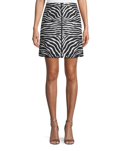 Zebra-Jacquard A-Line Wool Mini Skirt