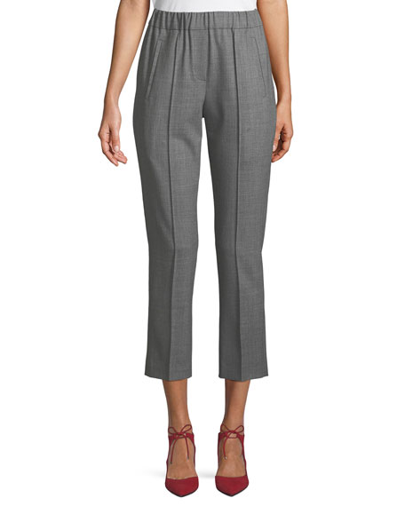 Michael Kors Collection Tropical Stretch-Wool Straight-Leg