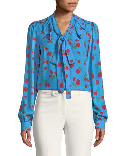Button-Down Tie-Neck Scattered Rose-Print Silk Georgette Blouse