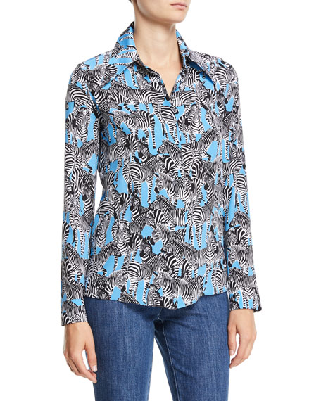 Long-Sleeve Button-Down Zebra-Print Silk Crepe de Chine Shirt