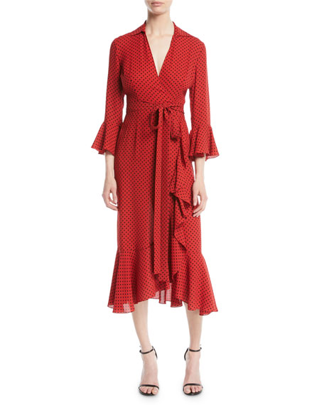 Michael Kors Collection Polka-Dot Silk Georgette Wrap Dress