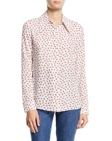 Rose-Print Button-Front Classic Silk Georgette Shirt