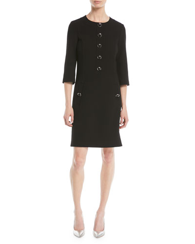 3/4-Sleeve Button-Front Stretch Boucle Crepe Wool A-Line Dress