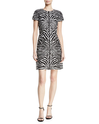 Cap-Sleeve Zebra-Jacquard Sheath Tee Dress