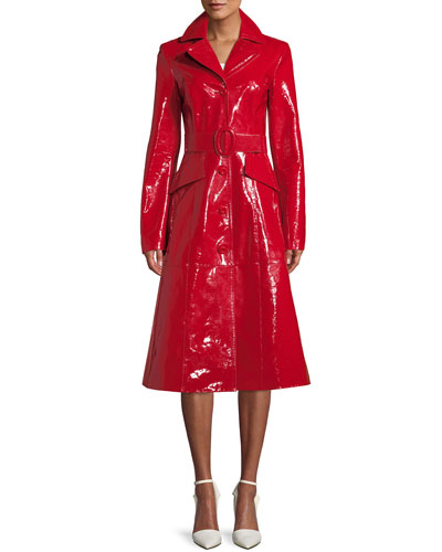 Button-Front Belted Lamb Leather Midi Princess Coat