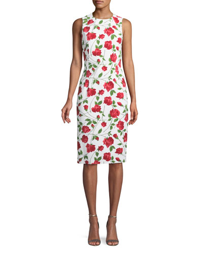 Sleeveless Stemmed-Rose Print Stretch-Cady Sheath Dress