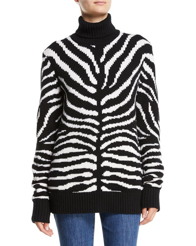 Zebra-Intarsia Cashmere Turtleneck Sweater
