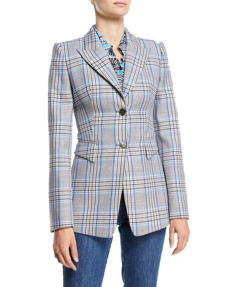 Peak-Lapel Two-Button Plaid Wool Blazer
