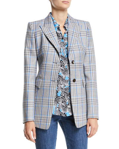 Peak-Lapel Two-Button Plaid Wool Blazer