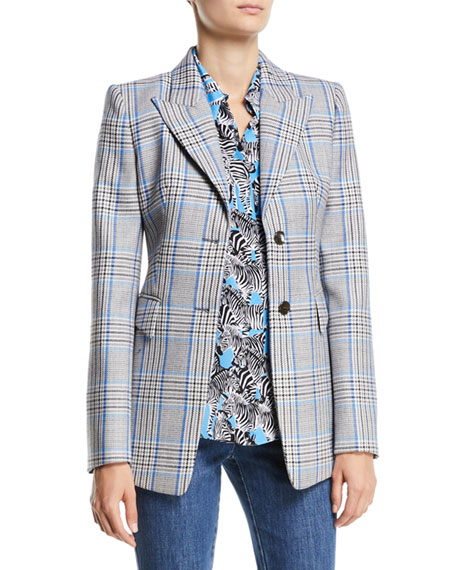Peak-Lapel Two-Button Plaid Wool Blazer, Blue Pattern