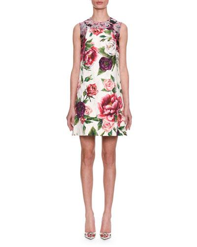 Sleeveless Rose Peony Jacquard & Brocade Shift Day Dress