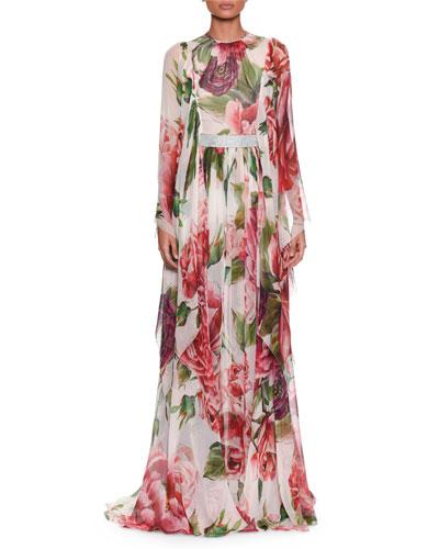 Long-Sleeve Rose & Peony-Print Silk Chiffon Evening Gown W/ Belt