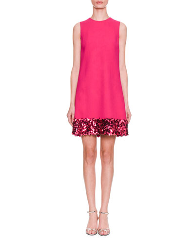 Sleeveless A-Line Cady Wool Dress w/ Paillette Hem