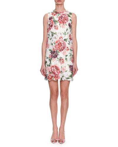 Sleeveless Rose-Printed Lace A-Line Dress