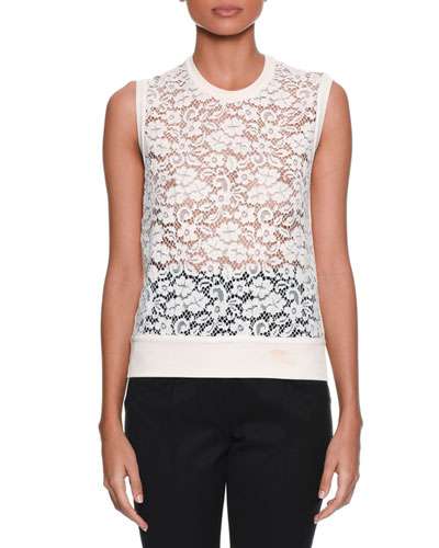 Sleeveless Rose-Lace Front Knit Shell Top