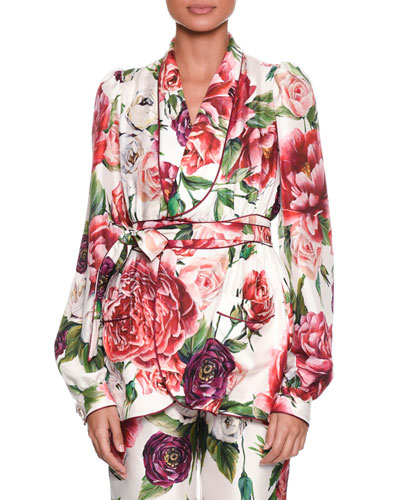 Long-Sleeve Rose Peony Belted Silk Pajama Top