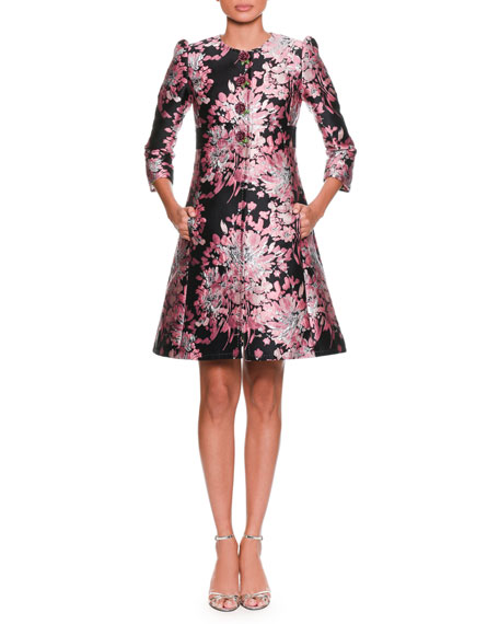 Long-Sleeve Button-Down Rose-Jacquard Coat w/ Metallic
