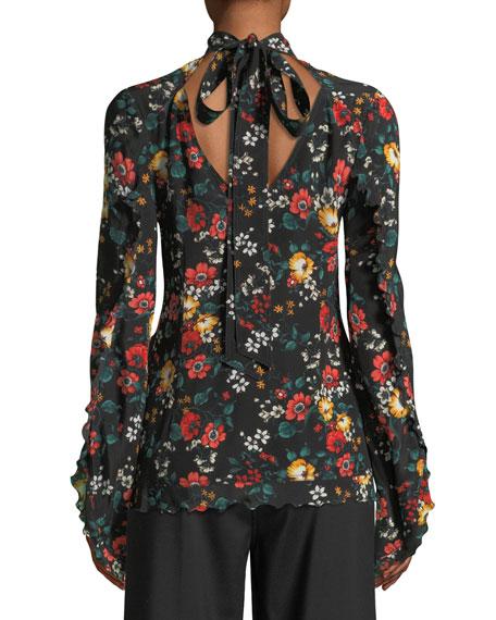 Mock-Neck Long-Sleeve Floral-Print Silk Blouse