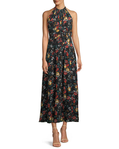 Sleeveless Ruched-Waist Floral-Print Long Silk Dress