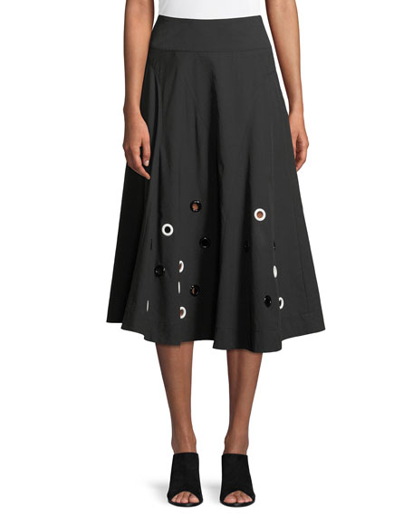 Flared Cotton Midi Skirt with Grommets