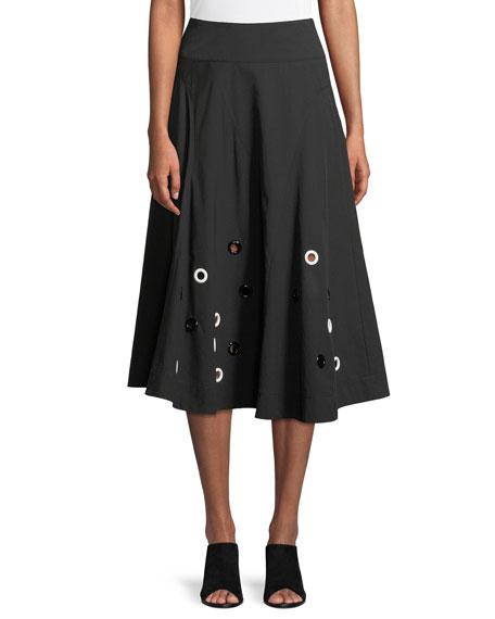 DEREK LAM Flared Cotton Midi Skirt With Grommets in Black