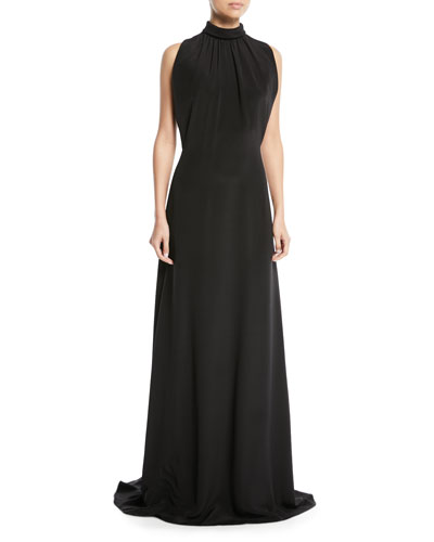 Mock-Neck Sleeveless Long Silk Evening Gown