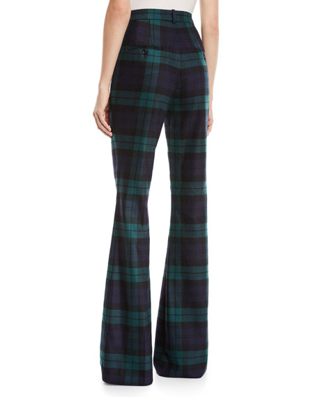 High-Waist Flared Tartan Wool Pants