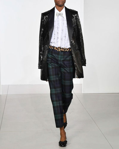Cropped Tartan Straight-Leg Trousers